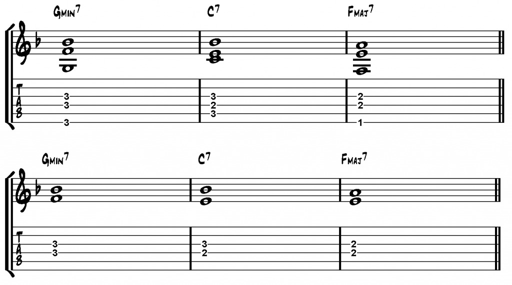 Example 3 - Shell Voicings for ii–V–I in F